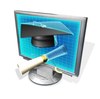 Image of cartoon computer with graduation cap and diploma.