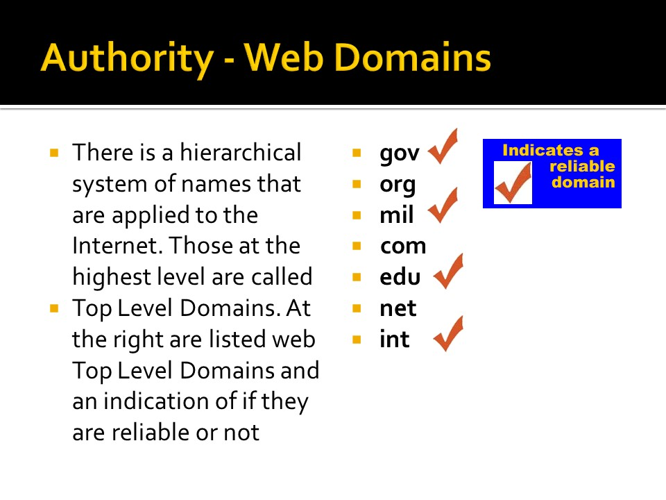 Image of authority web domains.