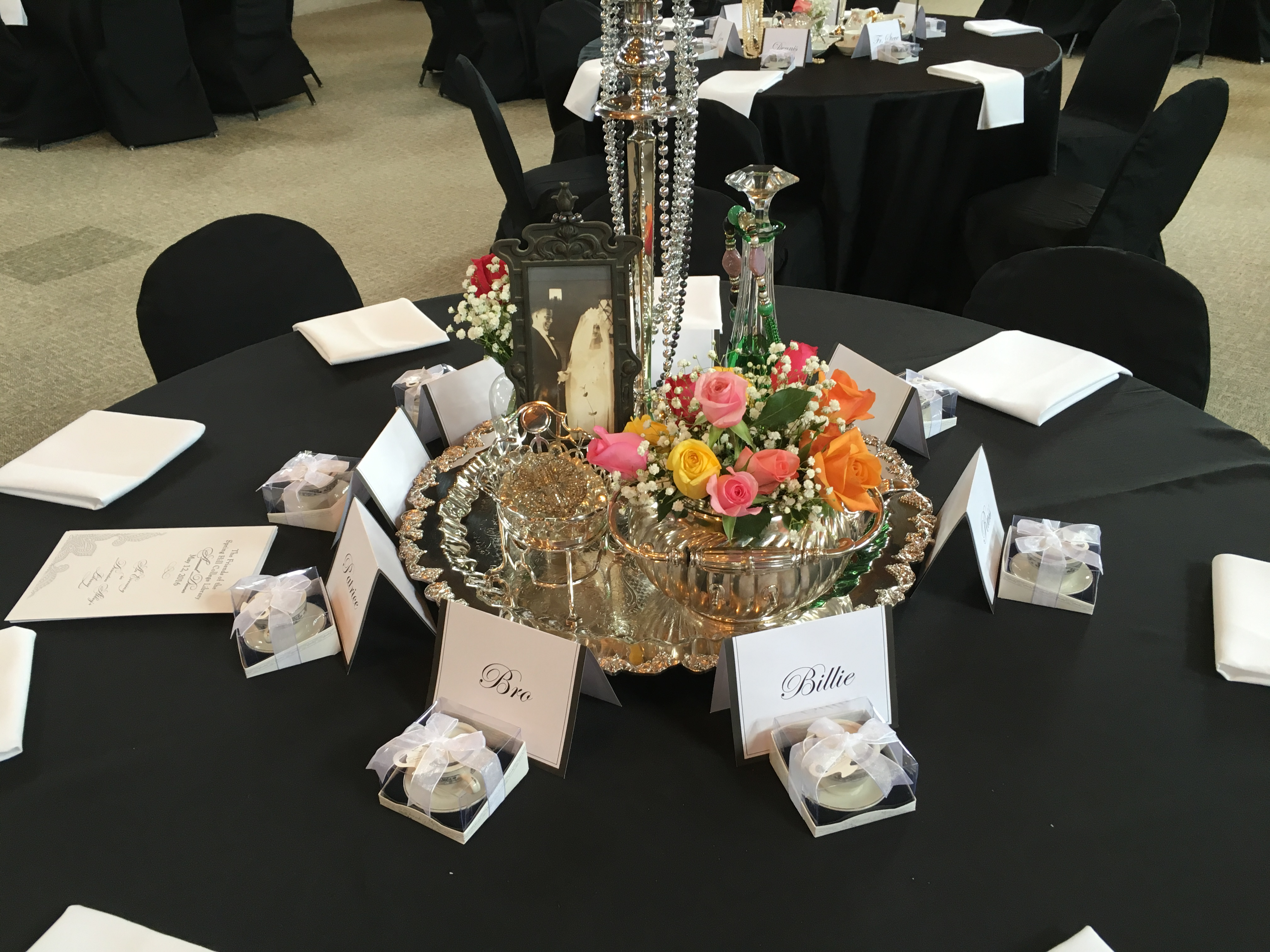 Table Arrangement with Roses and Candles