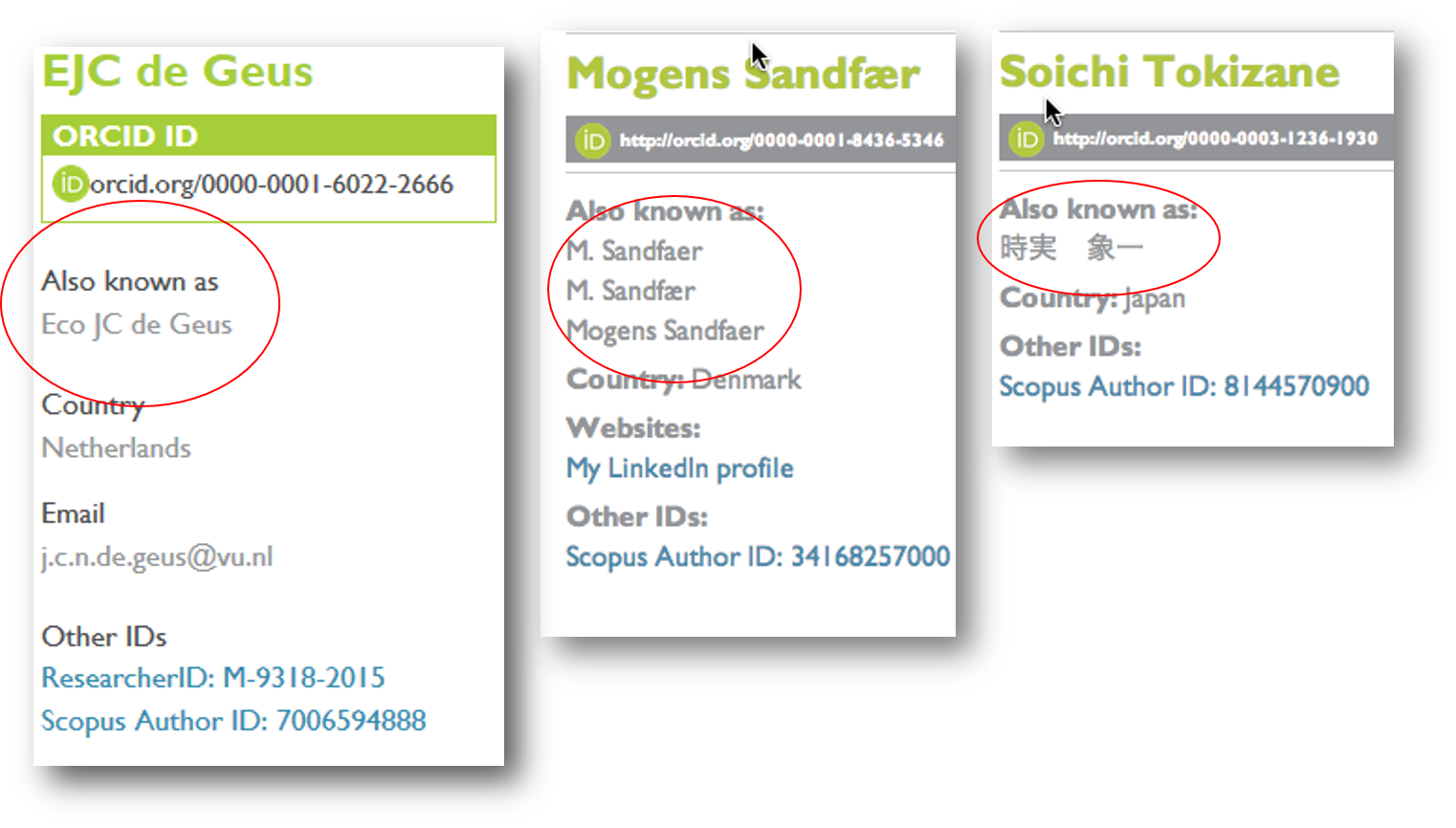 Example of name variations solved with ORCiD