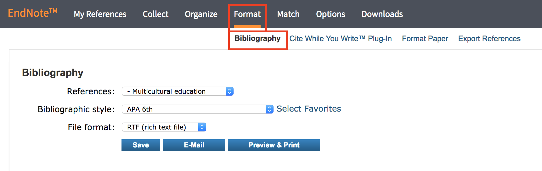 Format bibliography in EndNote Basic (Web)
