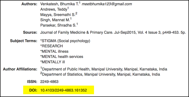 example of where to find a DOI on a journal article