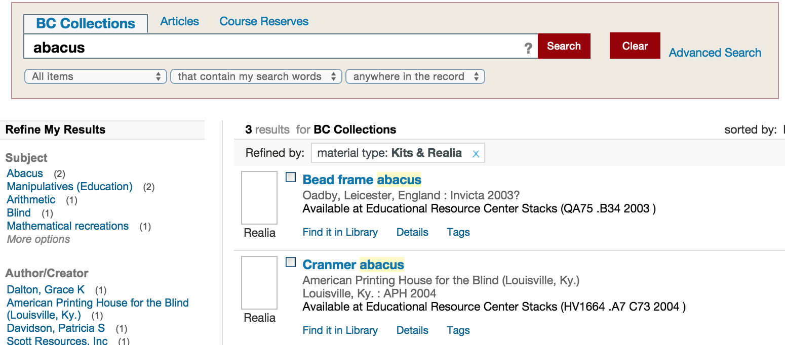 image of sample search using abacus as search term
