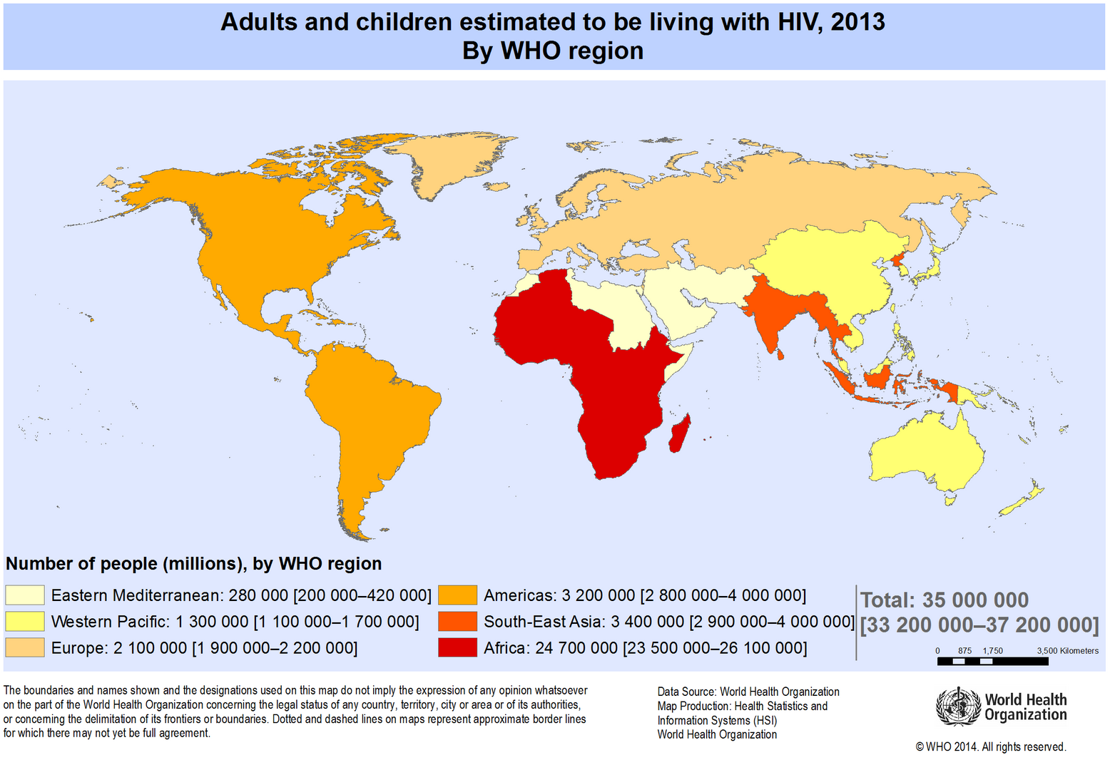 who world map number living with hiv 2013