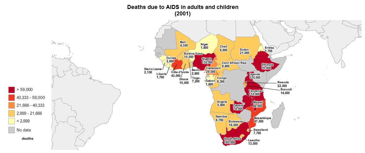 map of africa with death due to aids data