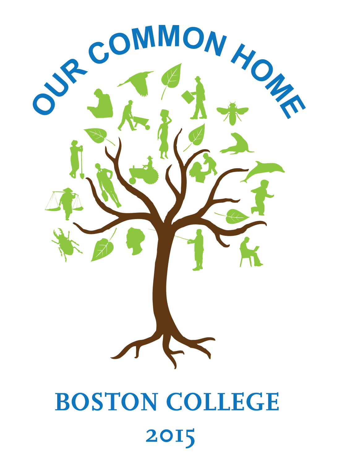 Our Common Home event logo.  Tree with people and animals as leaves