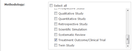 Screenshot of some of PscyINFO's Methodology options. The box next to 'Treatment Outcome/Clinical Trial' is checked.