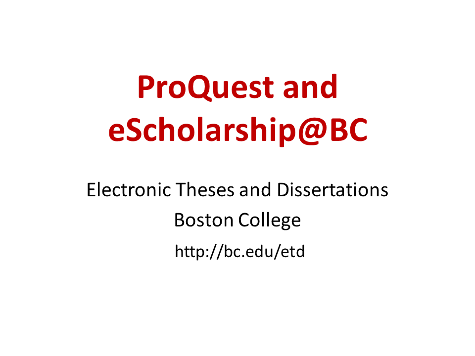 Click to view the ProQuest and eScholarship@BC video.