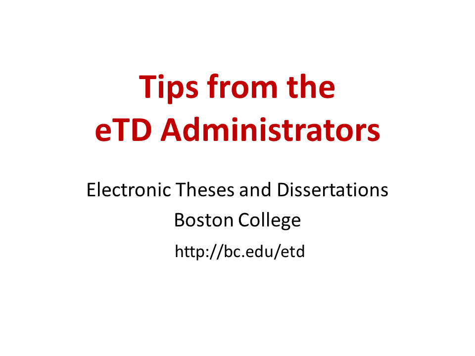 Click to view the Tips from the ETD Administrators video.