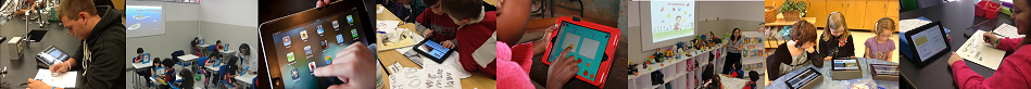 A banner image of students using ipads in the classroom