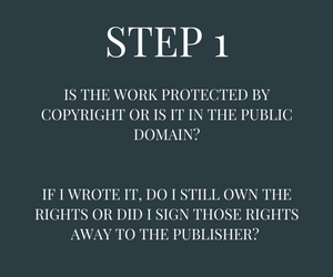Step 1: Is the work protected by copyright or is it in the public domain?  If I wrote it, do I still own the rights or did I sign those rights away to the publisher?