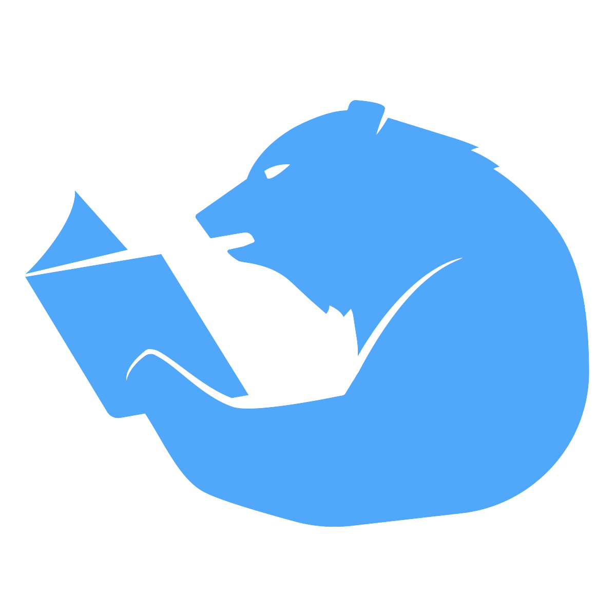 Silhouette of a bear reading