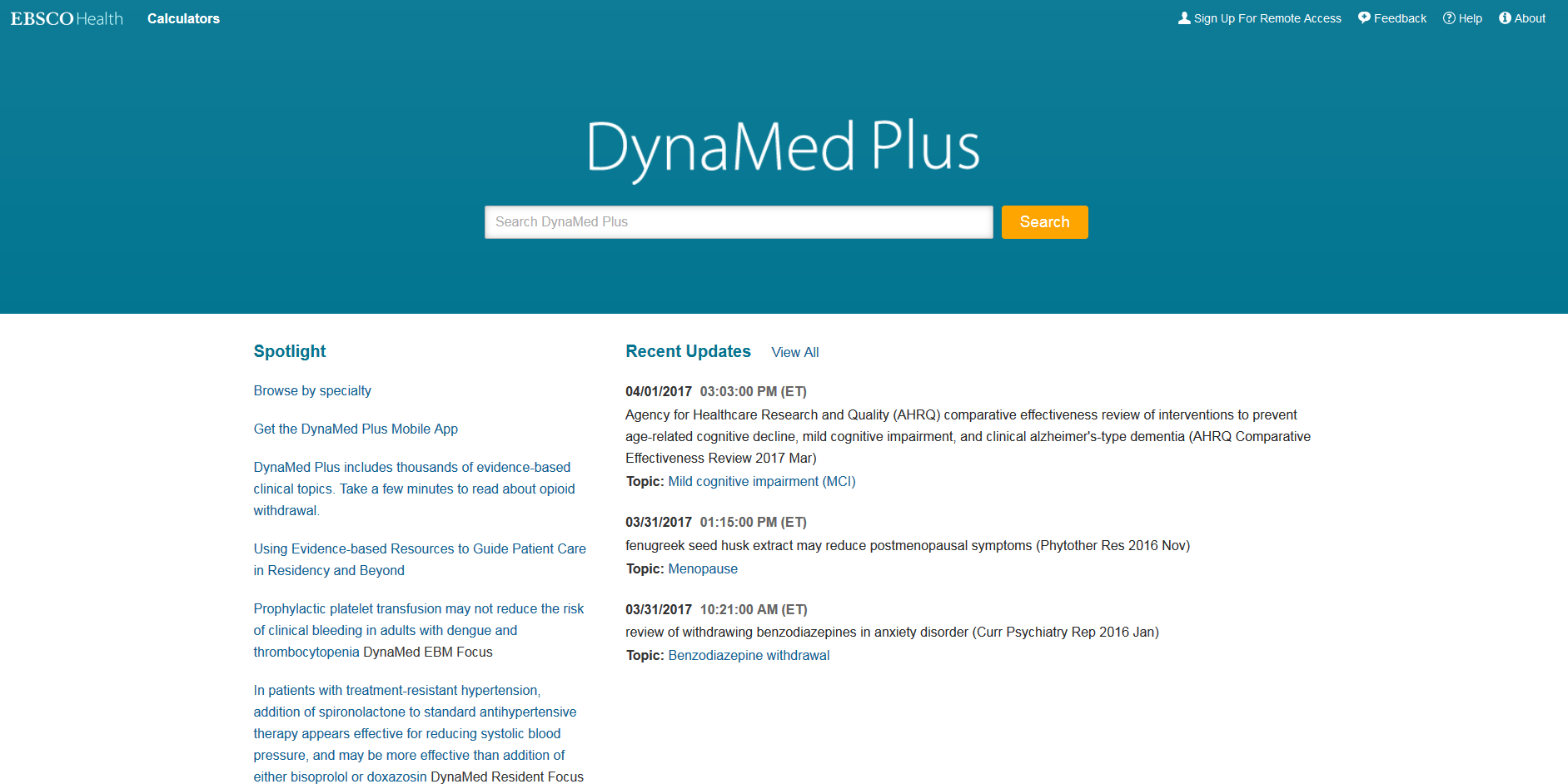 DynaMed Homepage Screenshot