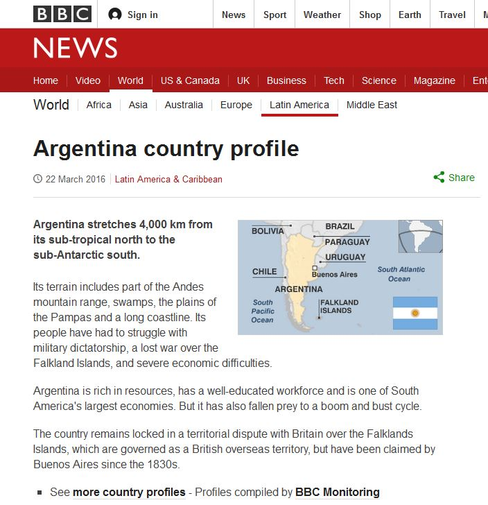 BBC News country profile for Argentina
