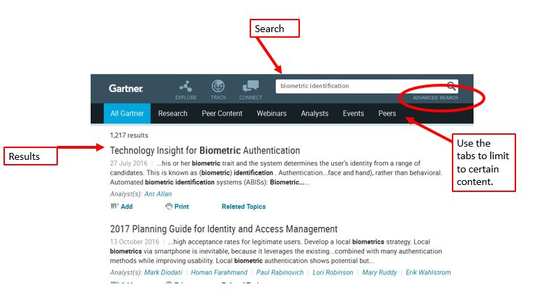 Search terms are entered in the search box at the top of the screen. In order to refine a search, you have to perform an advanced search from the beginning. The Advanced Search link can be found under the search box. Once you have results, you can use tabs at the top of the screen to limit to certain content