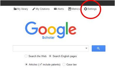 Image illustrates the location on the Google Scholar page of the Settings icon, which is the fifth item in the top navigation bar.