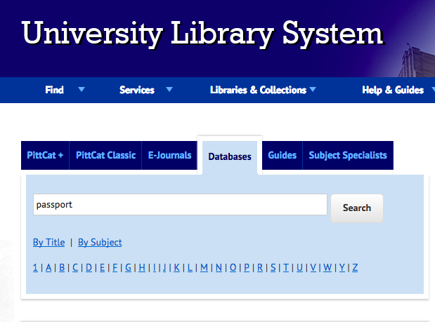 The fourth item in the menu for PittCat+ allows you to search for Pitt databases.