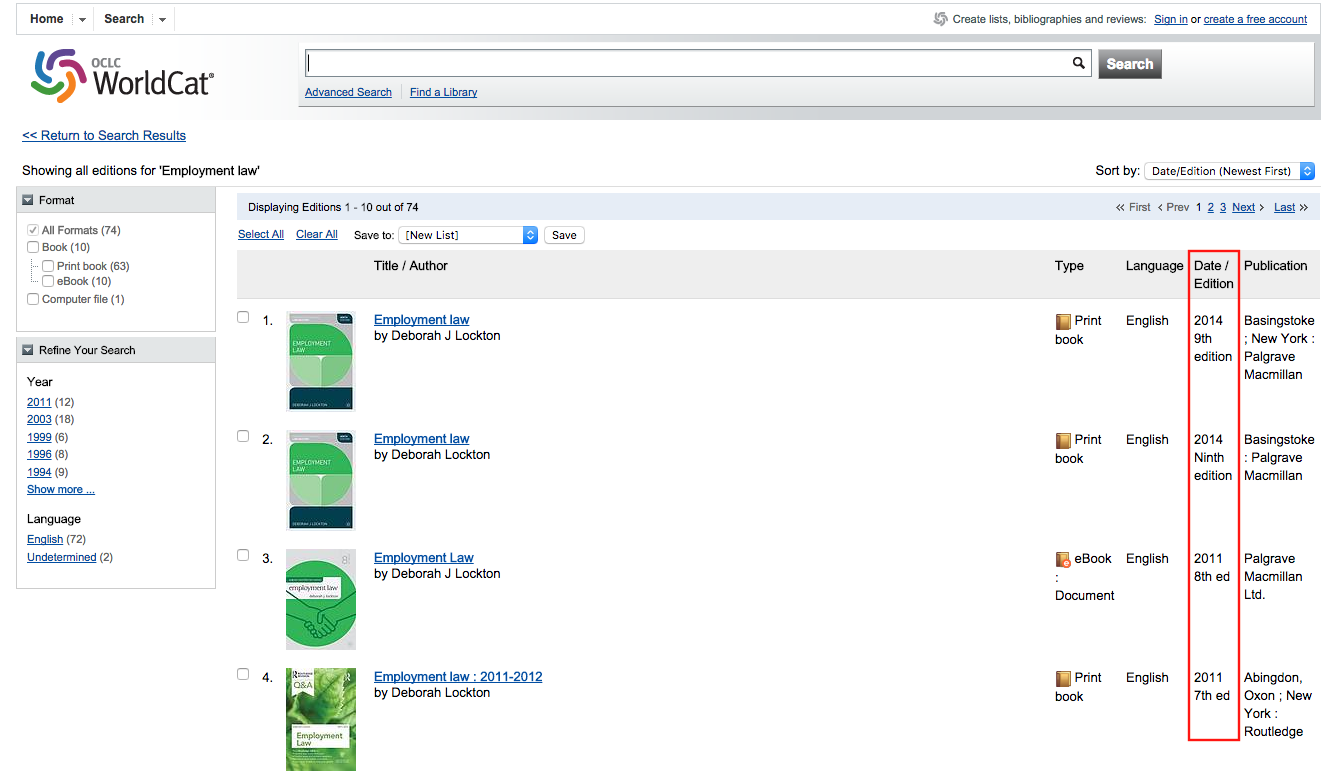 """Screenshot of Worldcat showing all editions of a book, with the edition date indicated in the """"Date/Edition"""" column"""