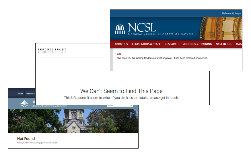 Examples of errors when accessing a page that no longer exists