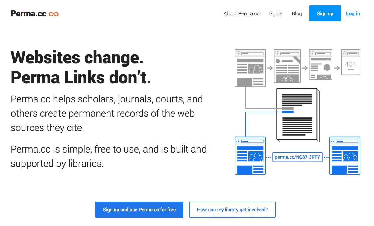 Screenshot of the Perma.cc homepage