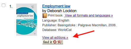 Screenshot of a search result in WorldCat, showing the link to view all editions under the item description