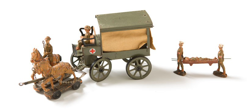 Model of horse drawn ambulance.