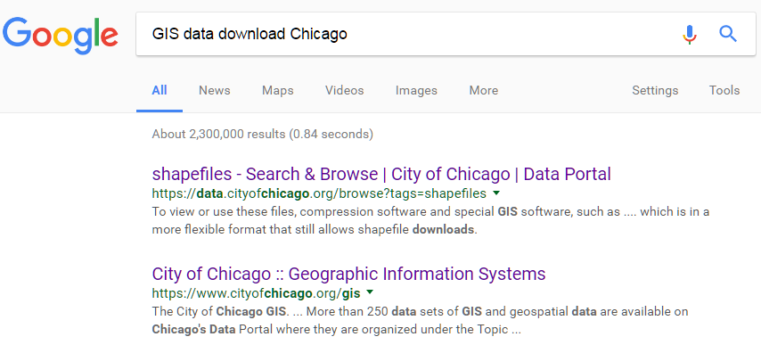 "Google search for ""GIS data download Chicago."" The first two results are for GIS data downloads through the city of Chicago."
