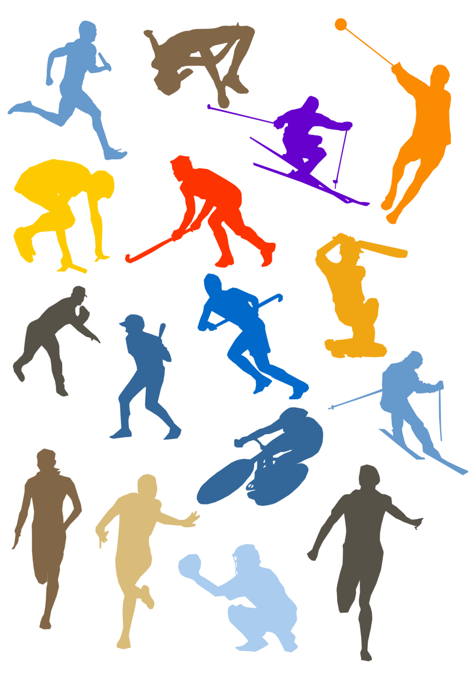 Figures performing various sports activities