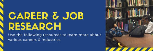 "Box header with text ""Career & Job Research Use the followin gresources to learn more about various careers & industries"" and image of students"