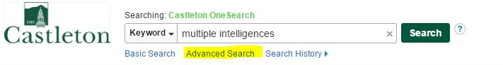 Screenshot of OneSearch Search Box with Advanced Search link highlighted