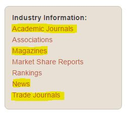 Industry Information menu with article links highlighted