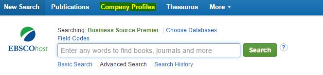 Screencapture of Search Box with Company Profiles link highlighted.