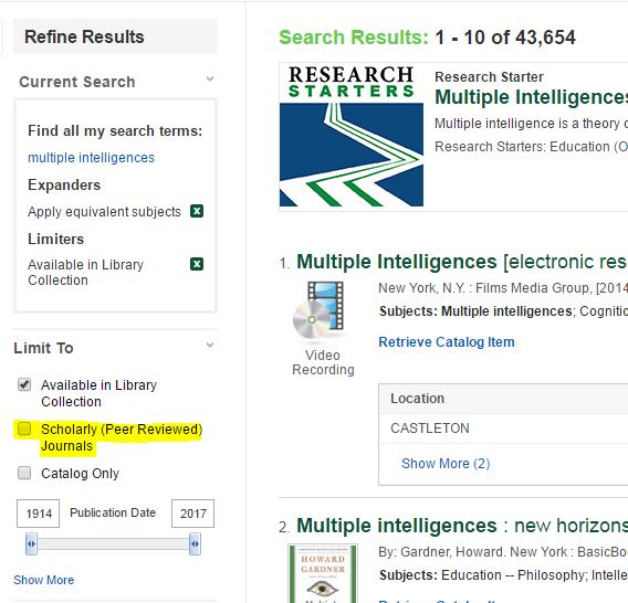 Screenshot of OneSearch Results page Refine Results area with Scholarly Journals highlighted