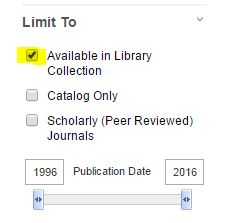 Limit To sidebar with the Available in Library Collection checkbox highlighted