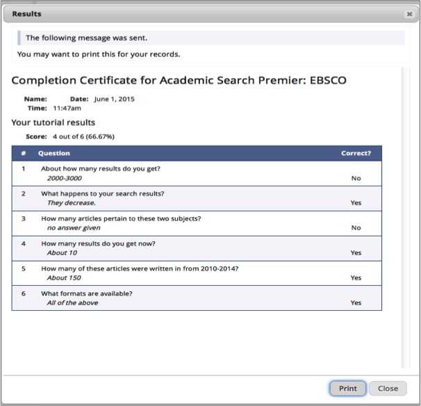 Completion certificate window