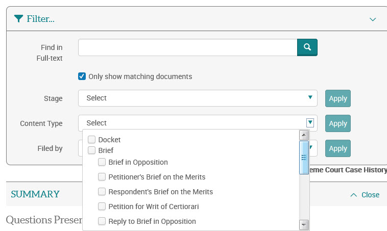 content-type filter will filter by one more more of the document types included in the case history