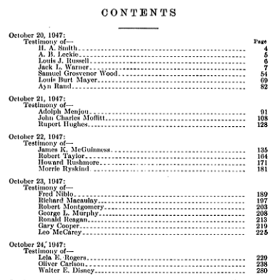 Contents page of Hearings Regarding the Communist Infiltration of the Motion Picture Industry
