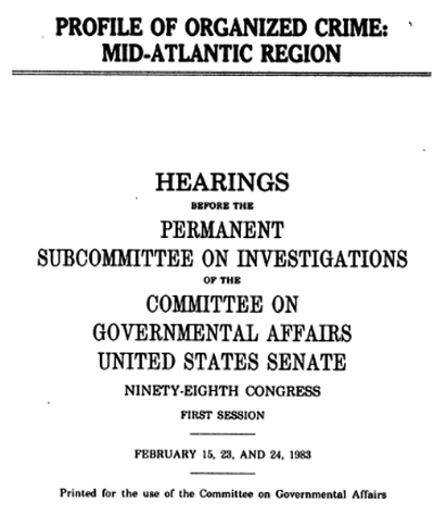Cover of hearing Profile of Organized Crime: Mid-Atlantic Region