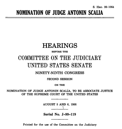 Cover of hearing Nomination of Judge Antonin Scalia