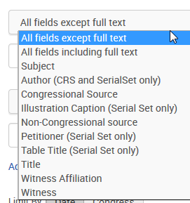Fields for searching the Serial Set