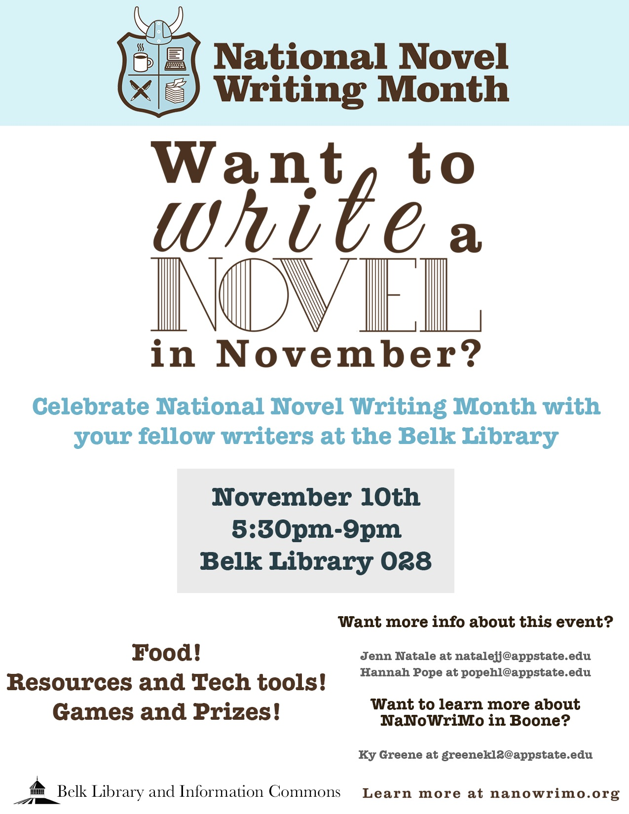Event in Belk Library 028. November 10, 2016 from 5:30-9pm.