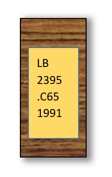 this image shows an example call number. It reads LB 2395 on the first two lines. The third line is period C 65. the last line says 1991.