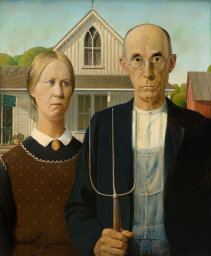 woman and man with pitchfork