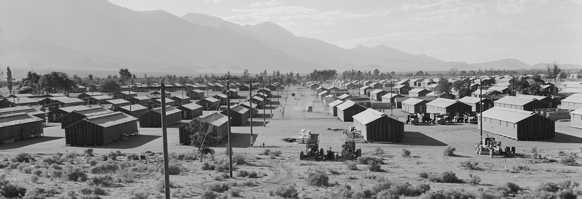 Rows of small houses in American concentration camp for people of Japanese WWII