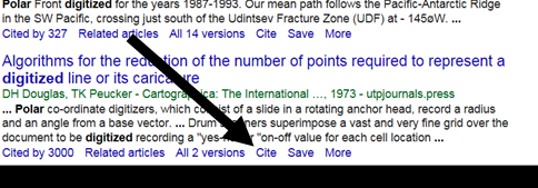 Image showing the cite link in Google Scholar