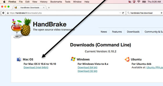 Arrow pointing to the link for downloading Mac OSX version of Handbrake