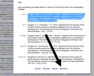 Image showing the RefWorks link in Google Scholar