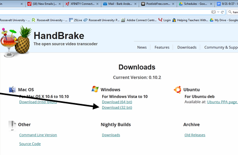 image with arrow pointing to Windows version of handbreak