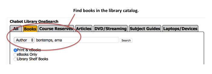 screenshot of library homepage