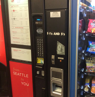 change machine next to Seattle's Best coffee